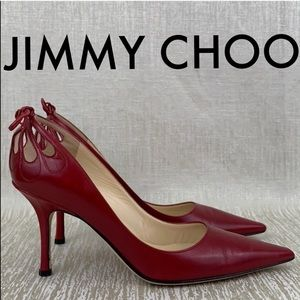 🎁 JIMMY CHOO RED LEATHER HEELS 💯AUTHENTIC